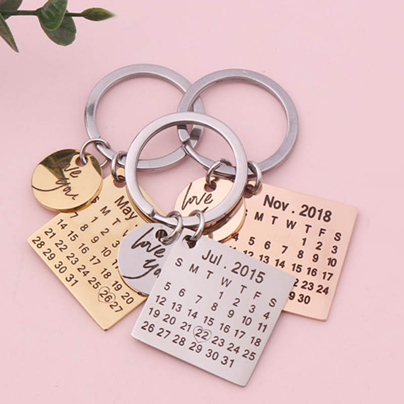 Love You Calendar Keychain Stainless Steel Key Ring With Heart Date Gift Jewe MA