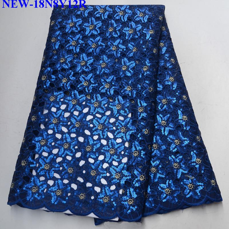 2018 Latest Royal blue French Nigerian Laces Fabrics High Quality sequins Tulle African Laces Fabrics For