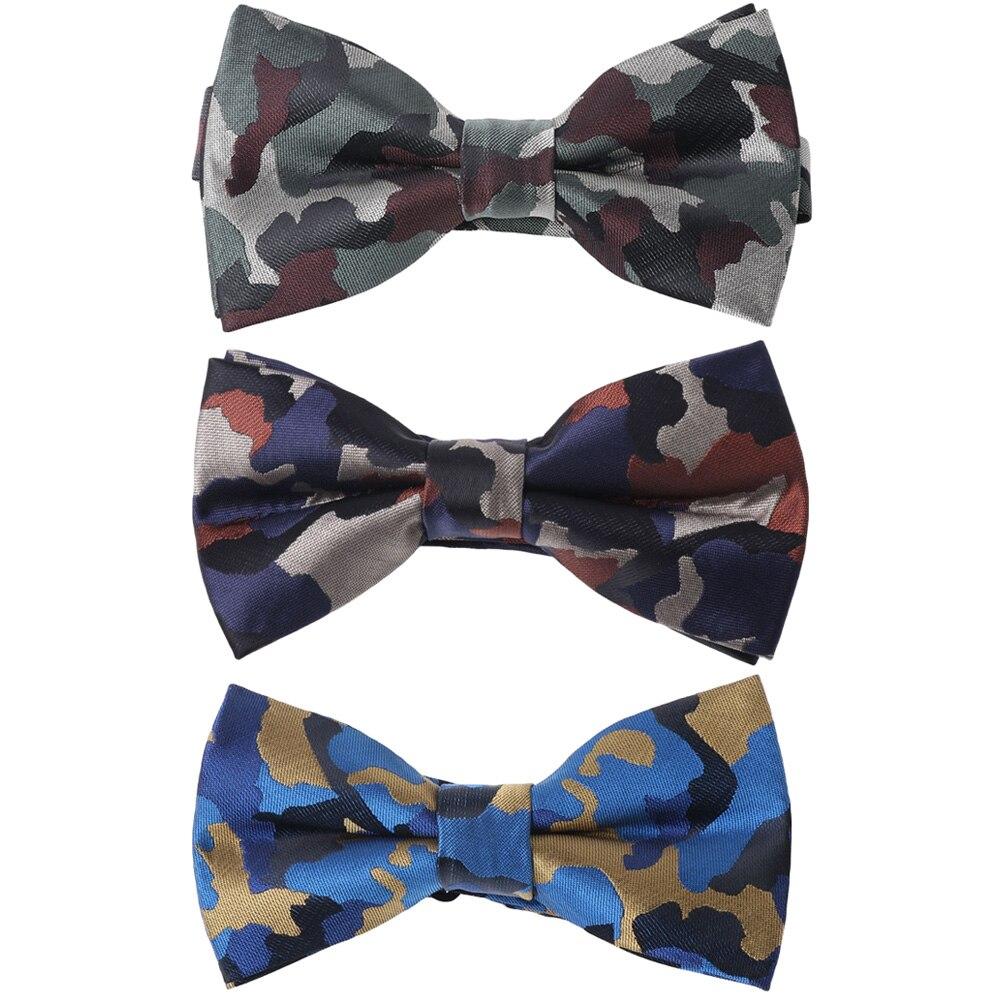 Men Formal Camouflage Pattern Pre-tied Bow Ties Wedding Party Adjustable Bowtie QNTIE0092