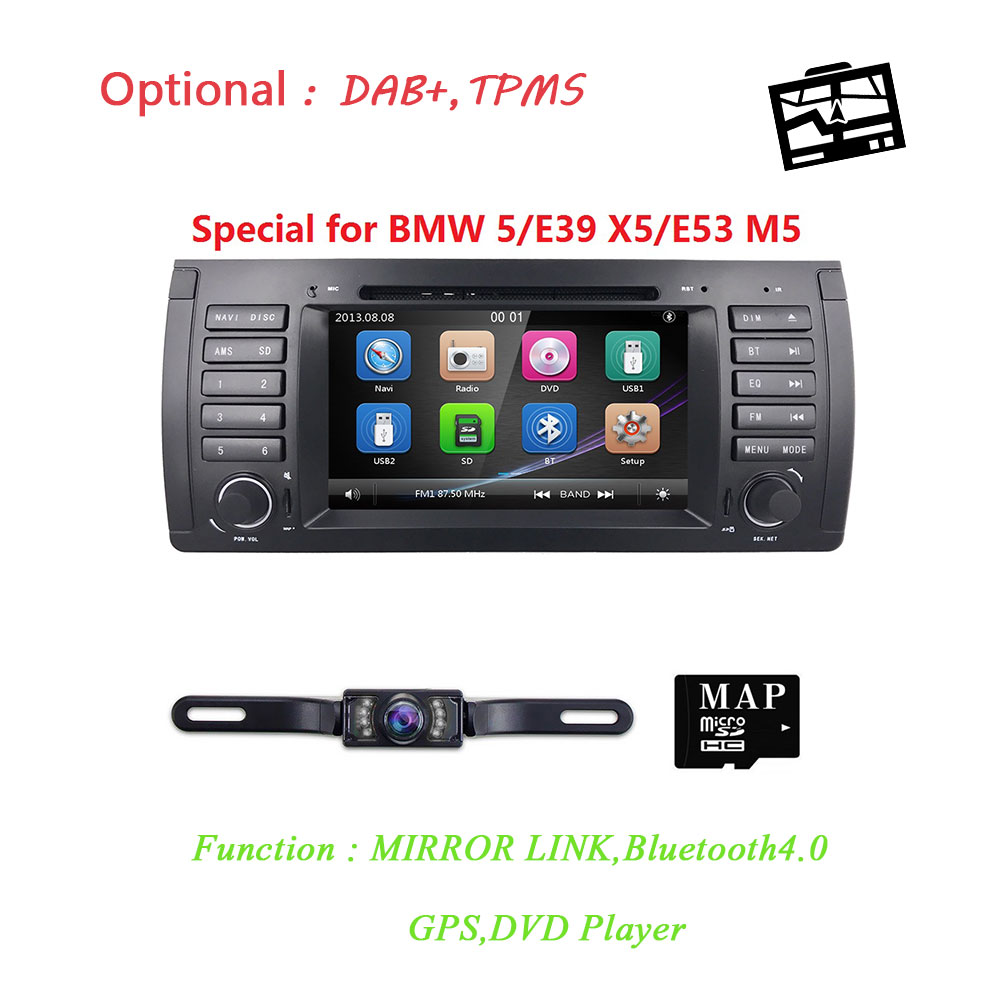 Livraison Gratuite 1Din lecteur DVD De Voiture Pour BMW E53 E39 X5 DVD autoradio navigation gps pour E39 BMW 7 pouces autoradio bluetooth Système