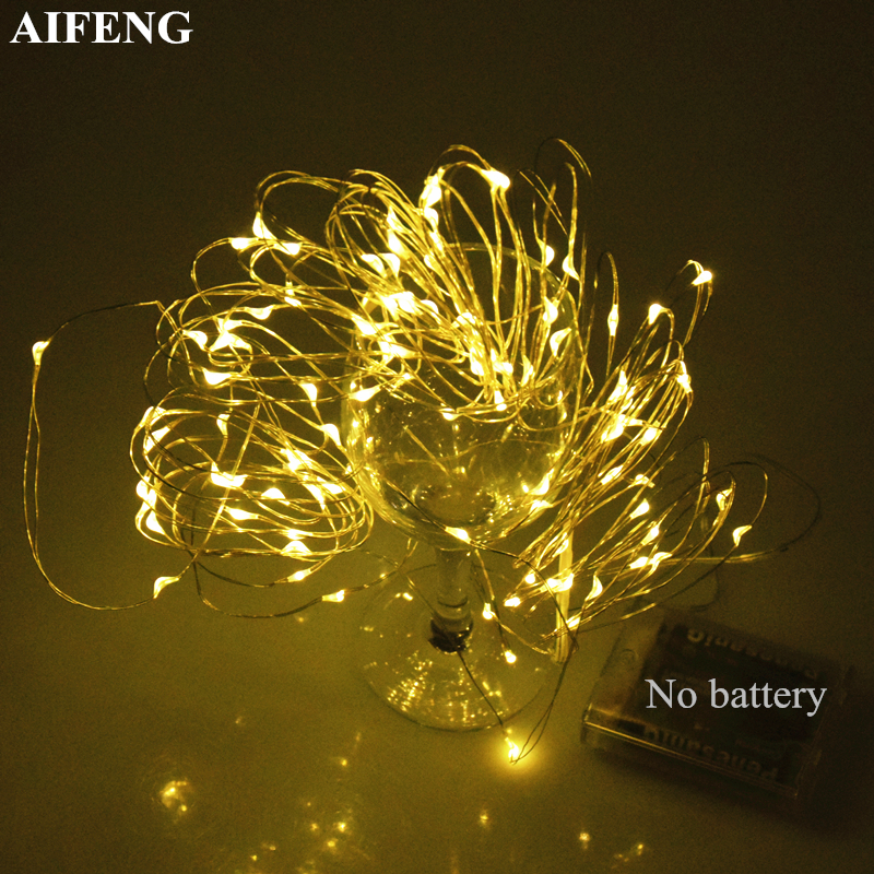 лучшая цена AIFENG Fairy Light 2M 3M 5M 10M Silver Copper Wire Light String Battery Operated Christmas Wedding Holiday Decor Led Fairy Light