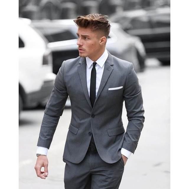 Custom Made Grey Men Suit Formal Skinny Business Office Work Suits Blazer Wedding S