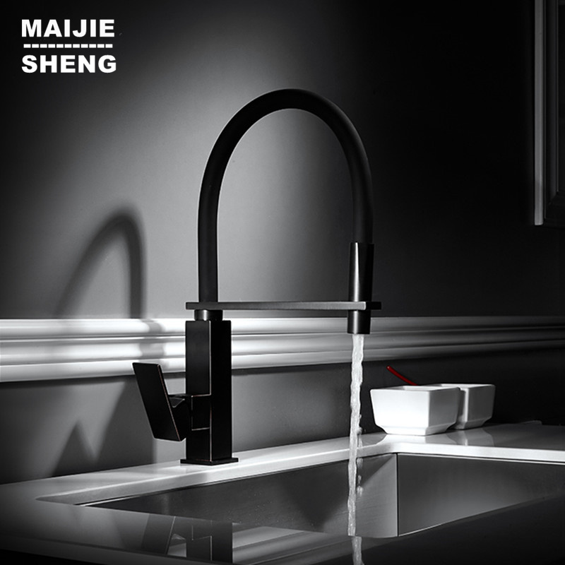 New Black Pull Out Kitchen Tap Pull Down Kitchen Faucet Square Brass Kitchen Mixer Sink Faucet