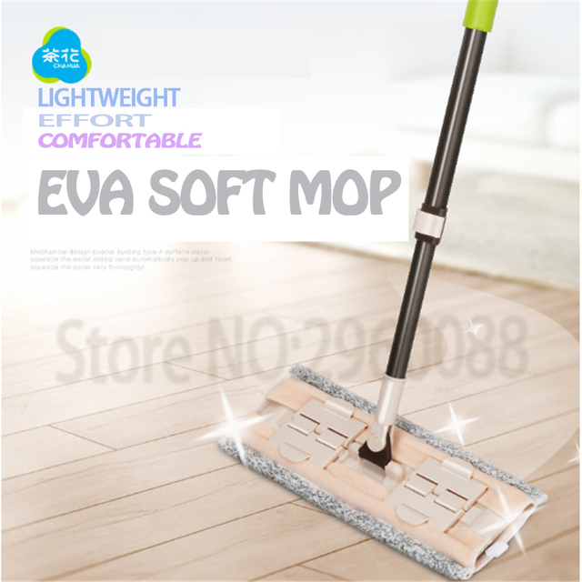 1pcs Free shipping 360 degrees Automatic squeeze Mop rubbed Sticking flat EVA mop for floor  telescopic handle home wood tiles