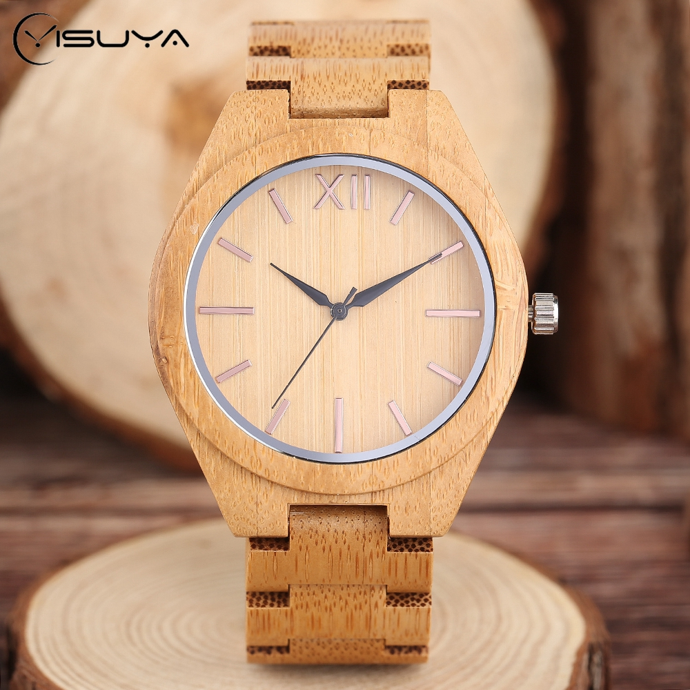 Bamboo Wooden Wrist Watch Mens Nature Brown Wood Quartz Creative Watches Novel Sport Analog Fold Clasp Bangle Clock Gift yisuya classic nature full wood watch men casual sport wooden bamboo handmade creative watches women analog clock handmade gift