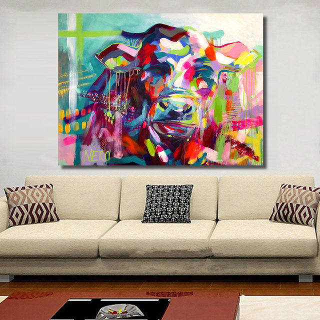 Online Shop HDARTISAN Vintage Wall Decorations Colorful Cow Style ...