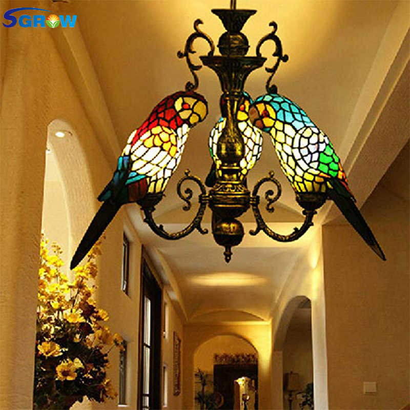 SGROW Tiffany Style Birds Chandeliers Hanging Lamp Hand-made Glass Parrot Lampshade Lights Modern Led Chandeliers for Restaurant