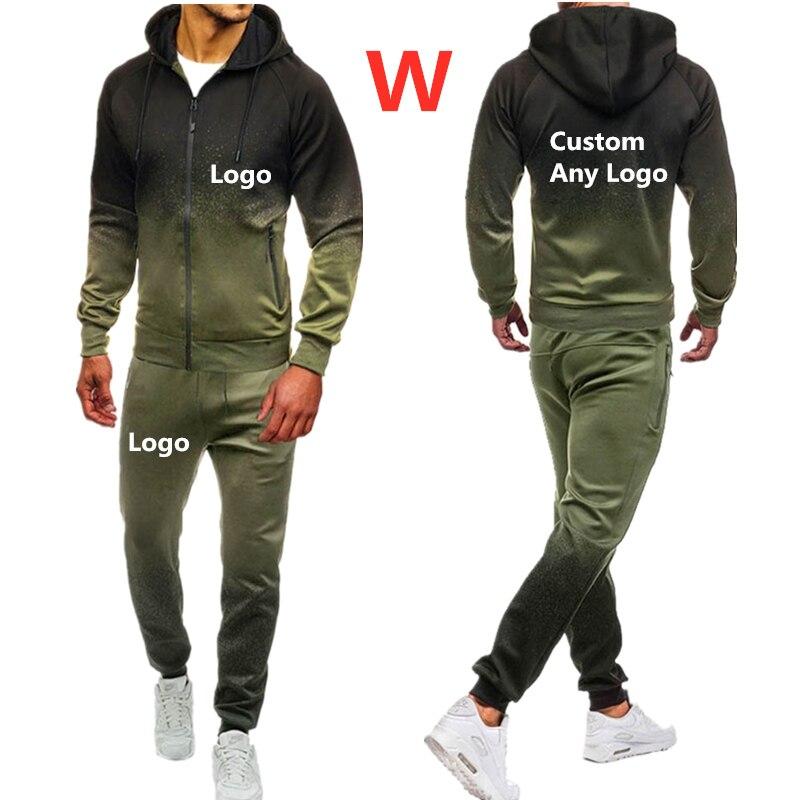 W Men's Autumn Spring Sporting Suit Sweatpants Brand Car Logos Print Mens Zipper Hoodies Pants Male Harajuku Slim Tracksuit Tops