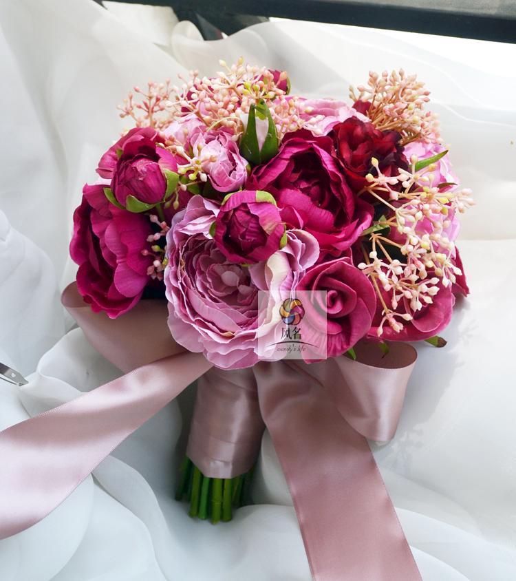 Bricolage nouveau Style à la main Vintage violet Rose Bouquet main tenant bouquet mariage photographie accessoires mariée main tenant la fleur