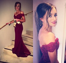 CF9 Custom Made Long Mermaid Burgundy Prom Dresses 2016 Popular Off  the shoulder Tulle Evening Dress For Graduation Party Gown