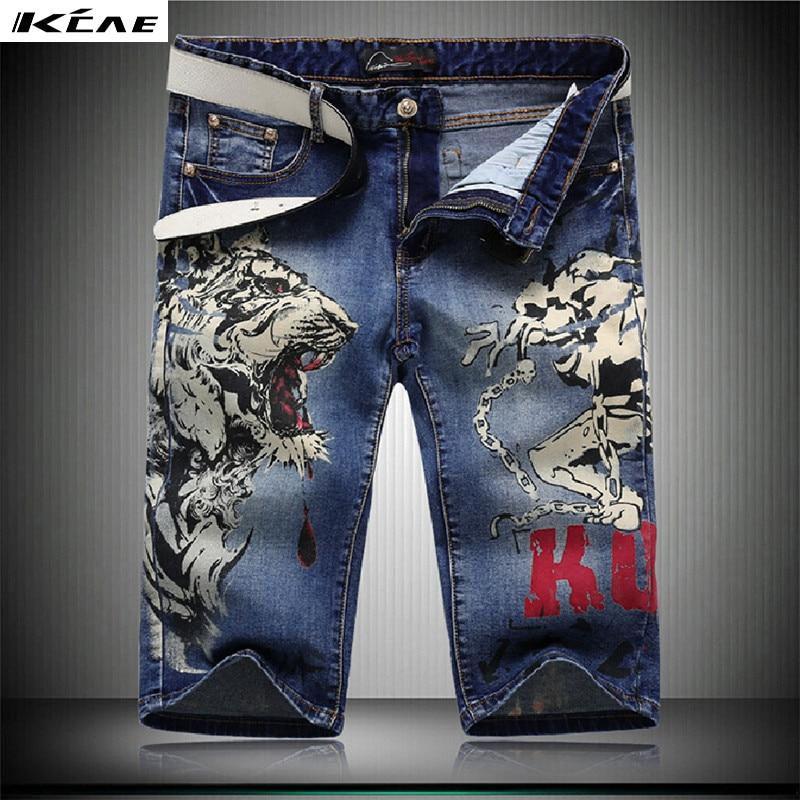 Alta calidad de los pantalones vaqueros cortos hombres azul tigre impreso straight jeans denim shorts 28-38 mens jeans cortos hasta la rodilla pantalones cortos
