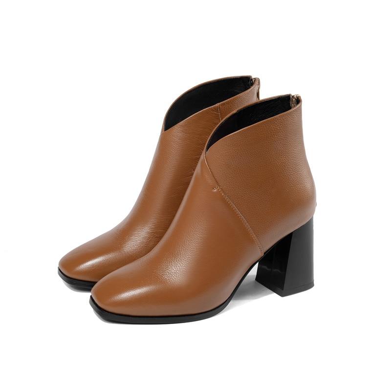 Bout Nouvelle Chaussures Cheville Smirnova Cm Bottes Femelle Noir Arrivée Cuir 2018 Zip En Femmes 7 Heeks Robe Véritable Pour Épaisse Carré dark Brown D2eE9HWIY