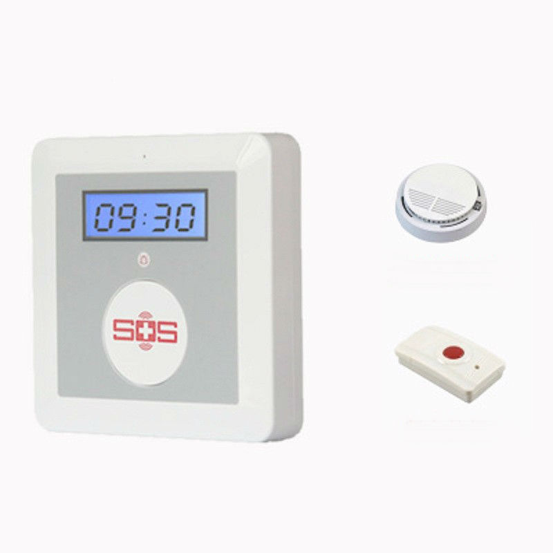 ФОТО IOS Android APP K4 GSM Emergency Alarm Personal Medical Alarms with Wireless Smoke Fire Detector Panic Button