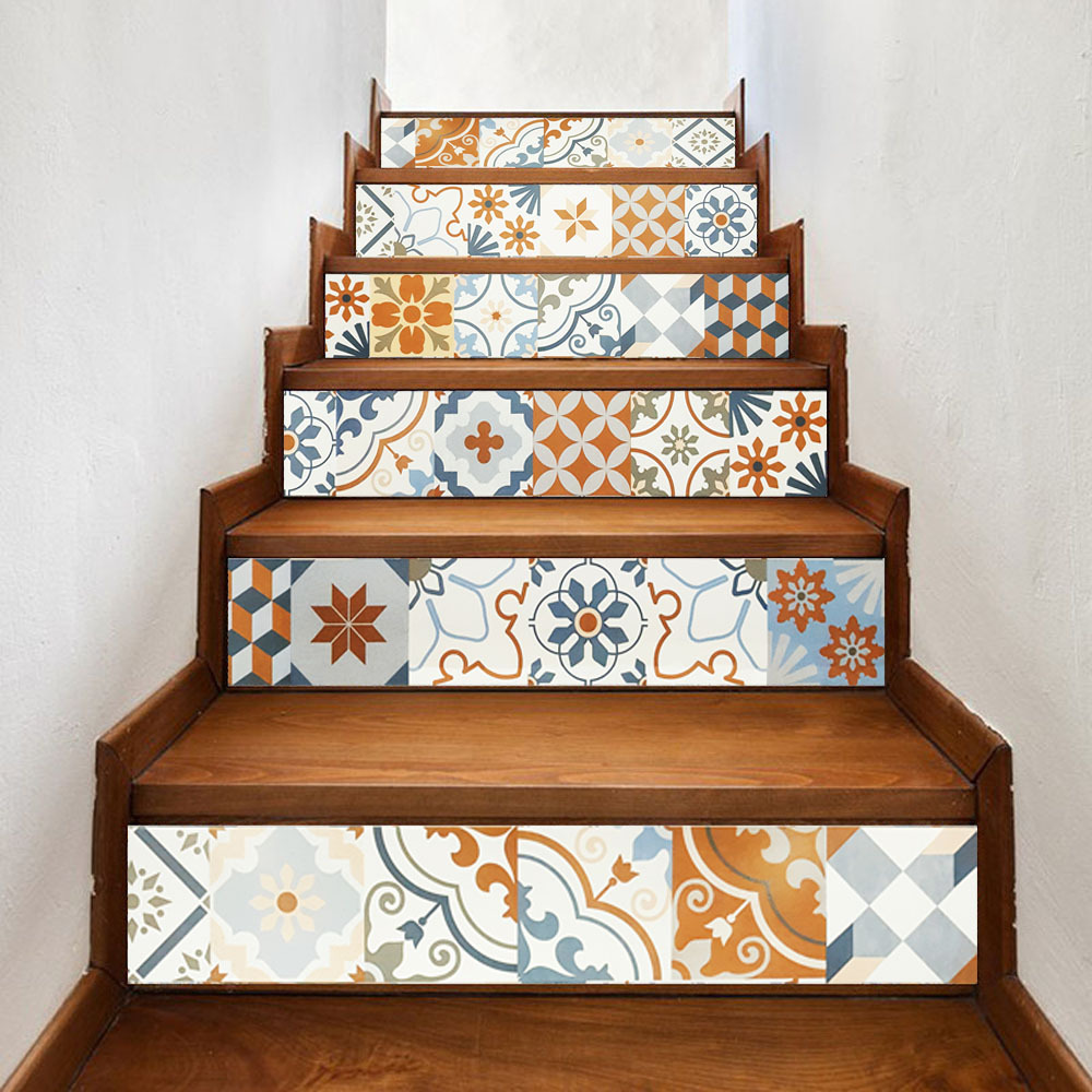 US $17.93 45% OFF|Geometry Decal for Stair Risers Wall Borders Peel and  Stick Self Adhesive Sticker Living Room/ Kitchen/ Bathroom Home Decor-in  Wall ...