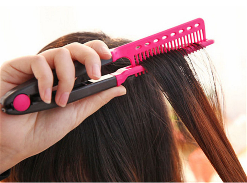 Natural Hair Styling Tools Fashion V Type Hair Straightener Comb Diy Salon Haircut Hair Style .