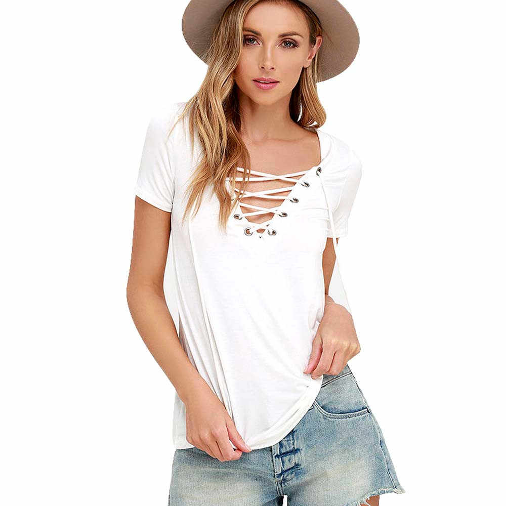 JAYCOSIN sznurkiem paski bluzka damska koszulka z krótkim rękawem topy koszula bluzka kobiety luźne IM19