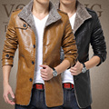 T china cheap wholesale size M-6XL 2016 autumn winter new men plus velvet  fashion casual big size PU leather jacket outerwear