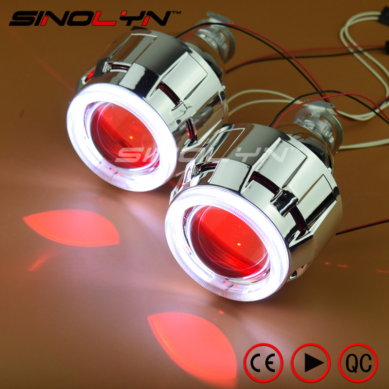 SINOLYN Car/Motorcycle Light 2.5'' HID Bixenon Projector Lens Headlight Angel Devil Demon Eyes Halo LED Xenon Headlamps H1 H4 H7 13a 2inch h4 bixenon hid projector lens motorcycle headlight yellow blue red white green ccfl angel eye 1 pc slim ballast
