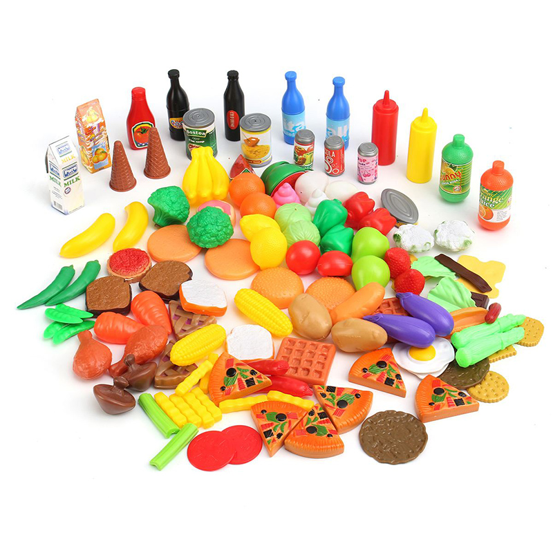 120pcs/set Pretend Food Cutting Toys Kitchen Simulation Cutting Fruits Vegetables Food Plastic Kitchen Toys Educational For Kids