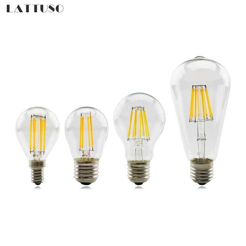 LATTUSO Antique rétro Vintage LED Edison ampoule E27 E14 LED ampoule 2 W 4 W 6 W 8 W Filament lumière 220 V verre ampoule lampe G45 A60 ST64
