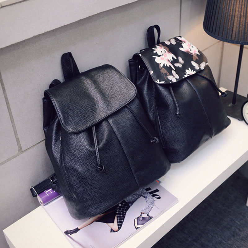 Simple Fashion Women Backpack Leather Drawstring Travel Shoulder Bags Ladies Girls Students School Bag Big Capacity WML9