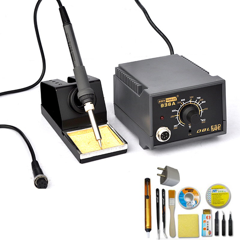 220V 60W 936 Electric Soldering Station Adjustable Temperature Ceramic Heating Solder Tools Kit With Desoldering Pump Iron Tips 936 soldering station 220v 60 65w electric soldering iron for solder adjustable machine make seals tin wire solder tip