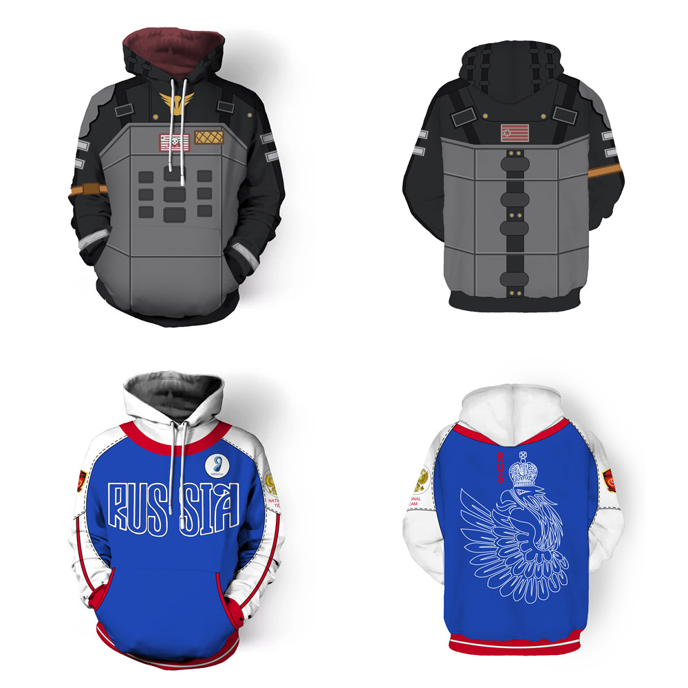 YURI!!! on ICE Costume PUBG Cosplay Adult men and women zipper Hoodies & Sweatshirts Anime 3D Print Yuri Plisetsky Jacket