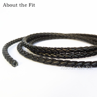 About the Fit 4mm 20Meters Genuine Braided Leather Cord Nappa Cow Leather Crafts Beading Accessories Jewelry Making Woven Rope