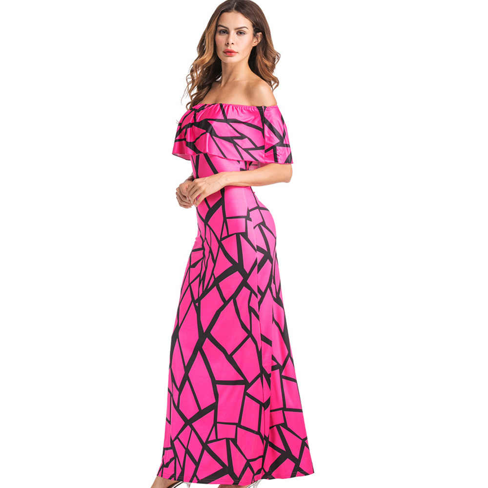 Off Shoulder Ruffle Vrouwen Jurk Zomer Slash Hals Elegante Sexy Strand Boho Print Vintage Casual Lange Maxi Party Dress Plus size