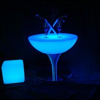 IP65 Waterproof 16 colored Change Light in Dark Illuminated Coffee Bar Furniture Table SK LF18 (D66*H58cm) for Party Event 10pcs