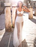 White Color Sexy See Through Floor Length Dress Loose Women's Rayon Bandage Dress With Underwear High Quality