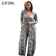 5b3cddec9f16 Camouflage Printed Sexy Plus Size Jumpsuit Women V Neck Long Sleeve Wide  Leg Pant Romper Casual Pockets Hooded Loose Body Femme