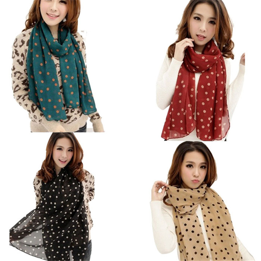 2020 Newly Women's Stylish Polka Dot Print Long Scarf Women Fashion Soft Silk Chiffon Wrap Shawl Scarves Dropshipping 30p1029