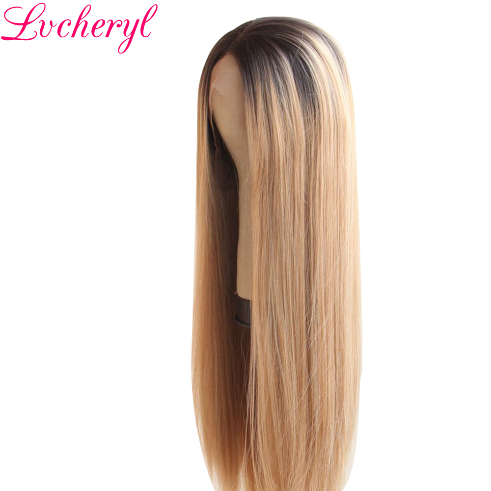 Lvcheryl Handbundet Ombre Brun Till Blond Färg Lång Rak Typ - Syntetiskt hår - Foto 3