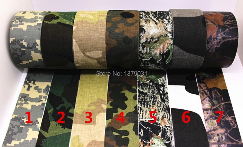 Nueva llegada de cinta adhesiva de camuflaje biónico 10M * 5cm Cámara de tela de algodón Cinta engomada de Rod de goma