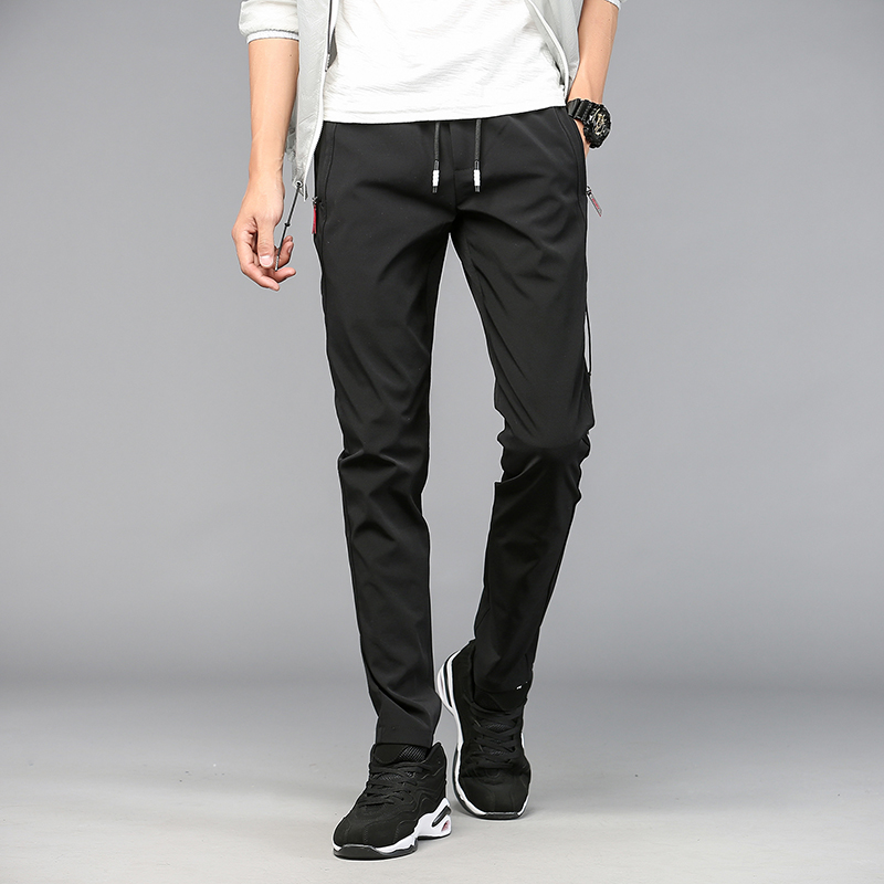 SULEE Mens Quick Dry Stretch Fashion Slim Fit Pants Elastic Waist Zipper Pocket Black Grey Casual Joggers Pants Size 28-38