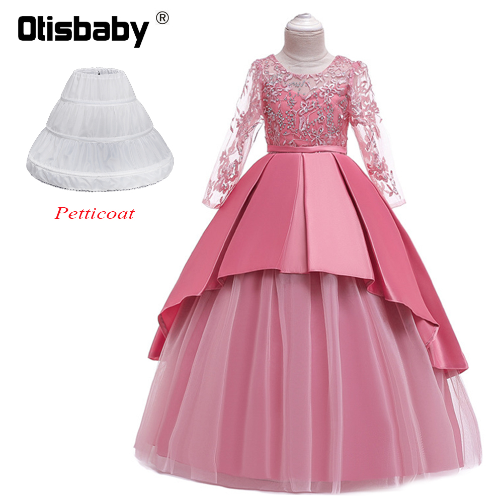 First Communion Dresses for Teenagers Floral Girls Lace Ball Gowns Graduation Girls Clothing Long Sleeve Prom Dress Wedding Girl image