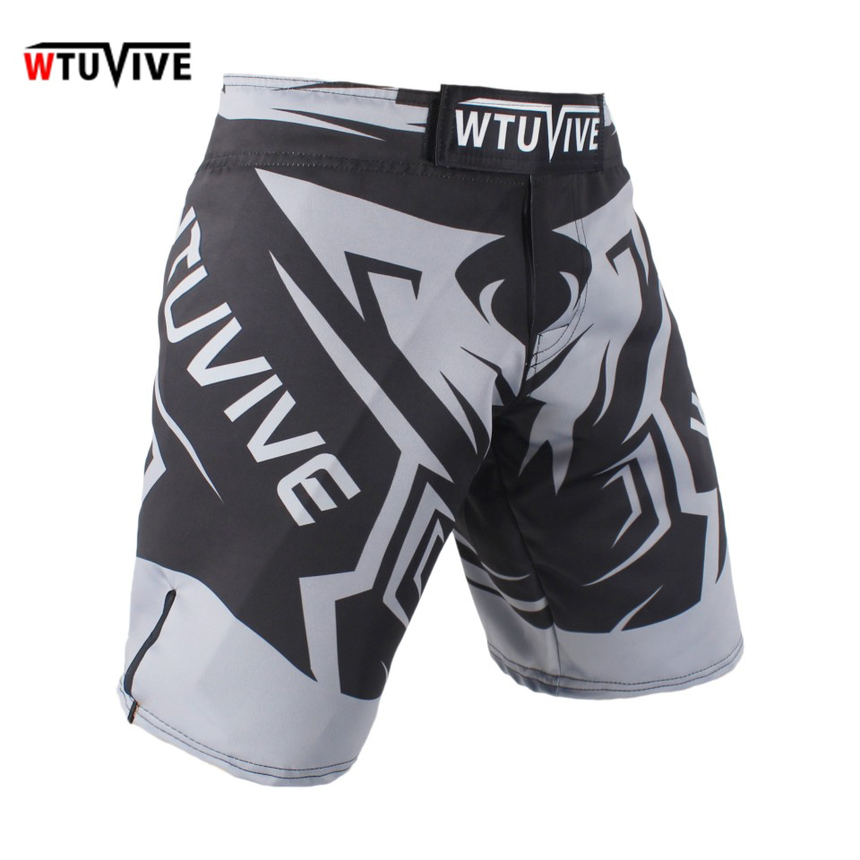 SUOTF Men s gray sharp combat sports breathable fitness boxing shorts Tiger Muay Thai boxing clothing