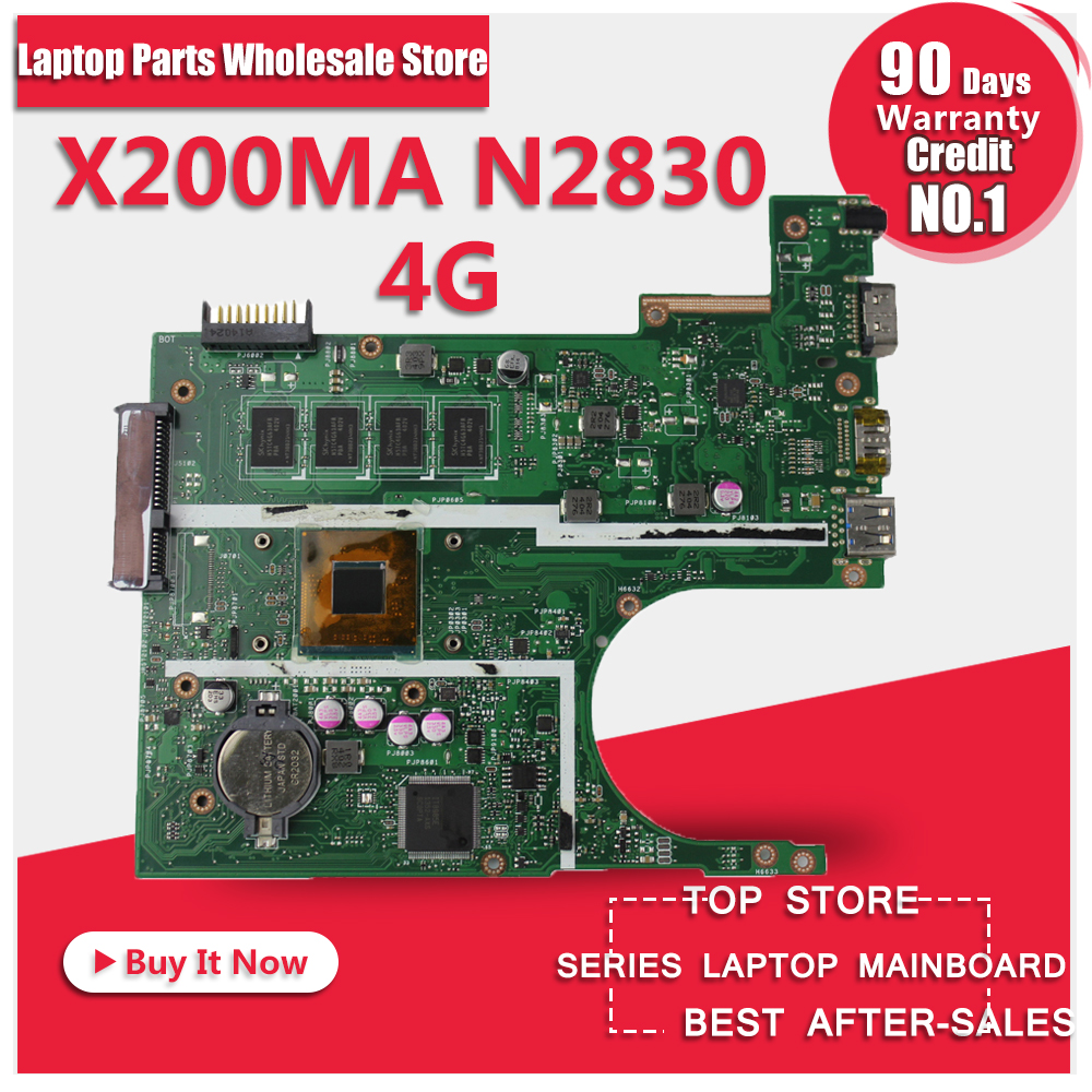 X200MA K200MA F200M latop motherboard for ASUS Non-integrated 2830 CPU REV2.1 X200MA 4GB Mainboard DDR3 90NB04U1-R00030 TestedOK for asus k200ma x200ma motherboard x200ma rev2 1 mainboard 4g memory on board n2815cpu 100