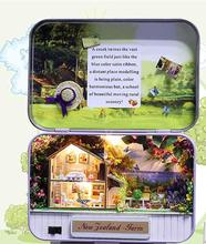 Miniature Tin Box Dollhouse with Furnitures,DIY Dollhouse Kit Toy for Kid's Gift,Cute Miniature New Zealand Farm Model In Box(China)