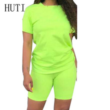 HUTI Two Pieces Sets O Neck Short Sleeve Top+skinny Pants Summer Casual High Street Playsuits Femme Macacao Feminino for Women wuhe women fashion o neck short sleeve long swing top and slim pants summer casual two pieces sets playsuits combinaison femme