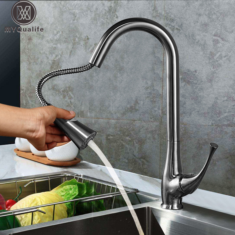 Deck Mounted Swivel Spout Kitchen Vessel Sink Faucet Pull Out Sprayer Brushed Nickel Hot and Cold Water Tap for Kitchen led color changing spout chrome brass kitchen faucet pull out sprayer vessel sink mixer tap hot and cold water