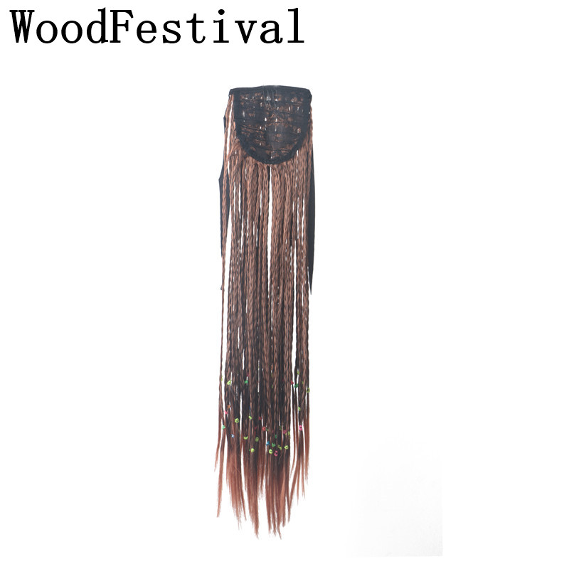 WoodFestival Long Synthetic braid hair extensions Heat Resistant Black Brown Clip In Ponytail(China)