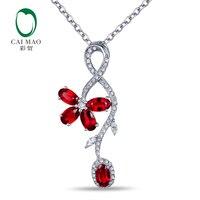 CaiMao 14KT/585 Ouro Branco 1.49ct 0.29ct Rodada Cut Diamond Engagement Rubi Gemstone Jóias Pingente
