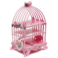 Birdcage Cupcake Cardboard Cake Stand Vintage Wedding Tea Party Display Holder Pink