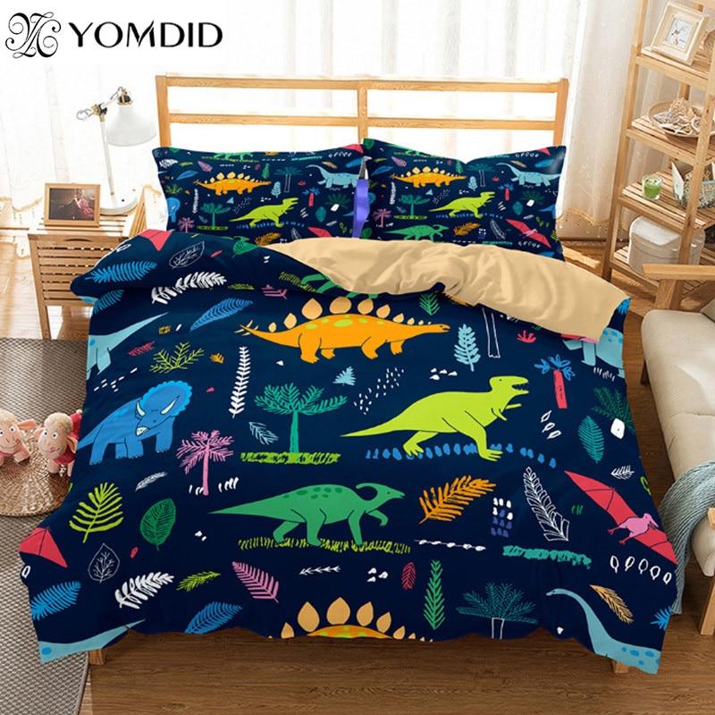 3D Printed Dinosaur Duvet Cover Cartoon Dinosaur Duvet Cover Sets Pillowcase Single/Double/Queen/King Children Room Bedding Set