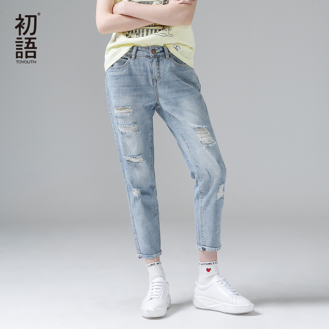 Toyouth Jeans for Women Casual Hole Ripped Jeans  Denim Pants 2019 Ankle-Length Mid Waist Loose Fashion Pencil Pants Trousers