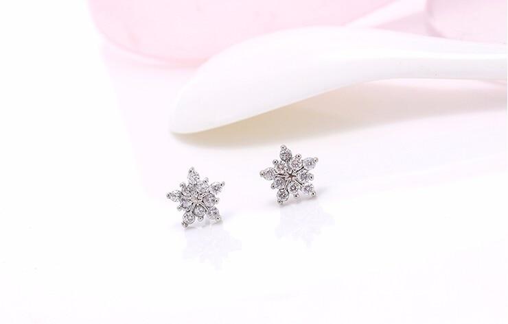 Stud Earring New Hot Sell Trendy Super Shiny Zircon Ice Flower 925 Sterling Silver Earrings for Women Wholesale Jewelry 1