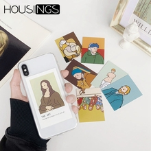 Oil Painting Card TPU Phone Case For iPhone 7 8 Plus XR XS Max Transparent Photo Frame Back X Xs 6 6s Cover