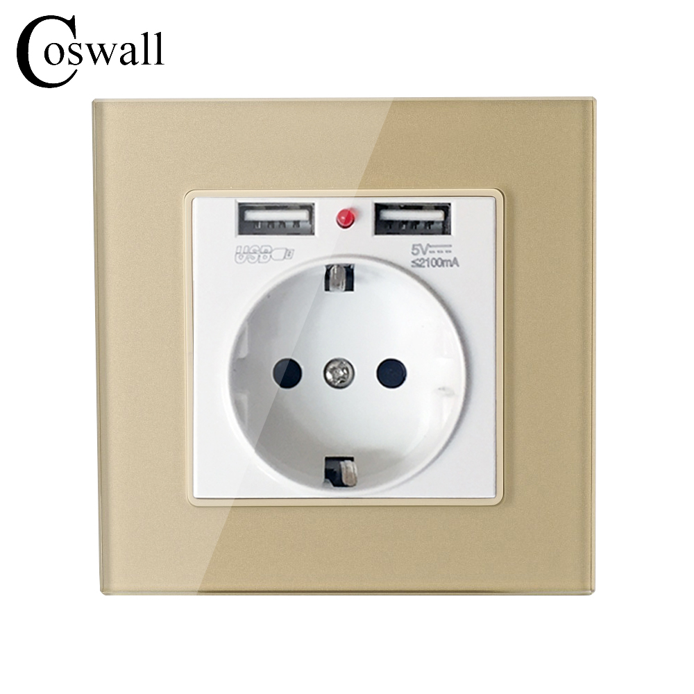 Coswall Crystal Glass Panel Dual USB Charging Port 2.1A Wall Charger Adapter 16A EU Socket Power Outlet Gold Color